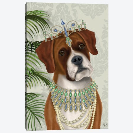 Boxer and Tiara, Portrait I Canvas Print #FNK1457} by Fab Funky Canvas Art Print