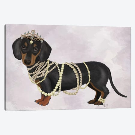 Dachshund and Pearls I Canvas Print #FNK1466} by Fab Funky Canvas Artwork