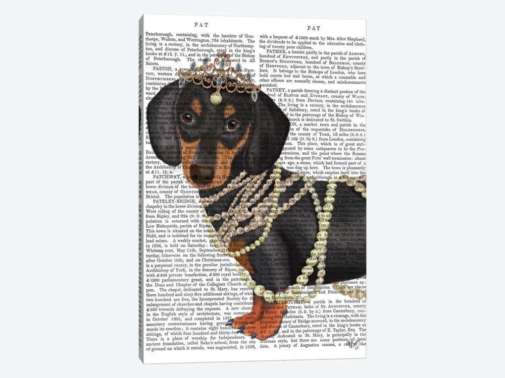 Dachshund and Tiara by Fab Funky 1-piece Canvas Artwork