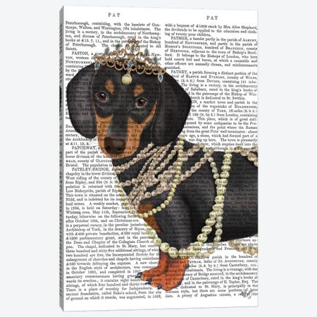 Dachshund and Tiara Canvas Print #FNK1468} by Fab Funky Canvas Print