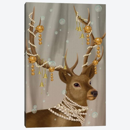 Deer with Gold Bells I Canvas Print #FNK1471} by Fab Funky Canvas Wall Art