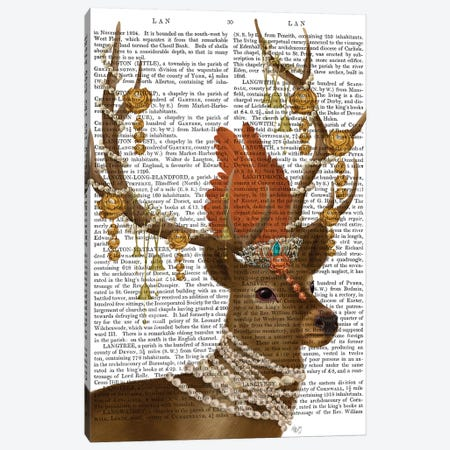 Deer with Gold Bells II Canvas Print #FNK1472} by Fab Funky Canvas Wall Art