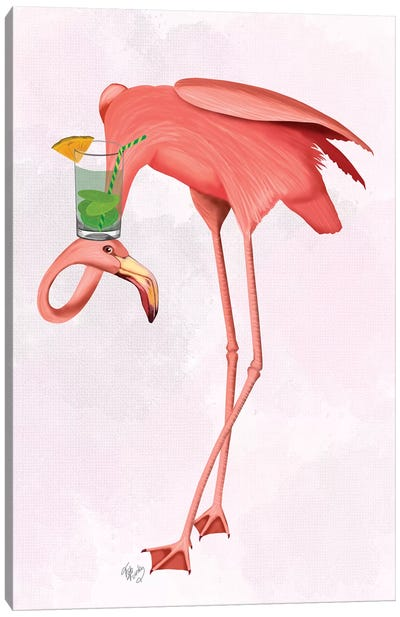 Flamingo and Cocktail I-I Canvas Art Print