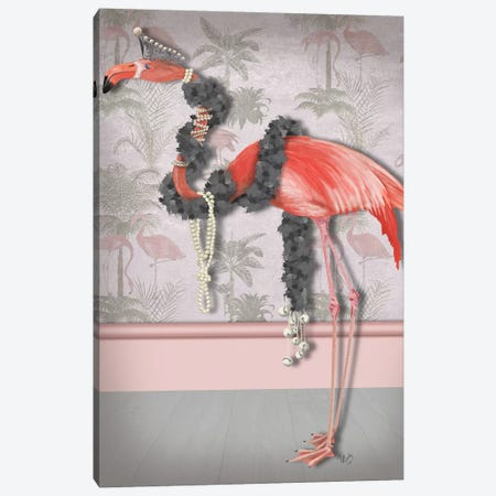Flamingo and Pearls, Full I Canvas Print #FNK1483} by Fab Funky Art Print