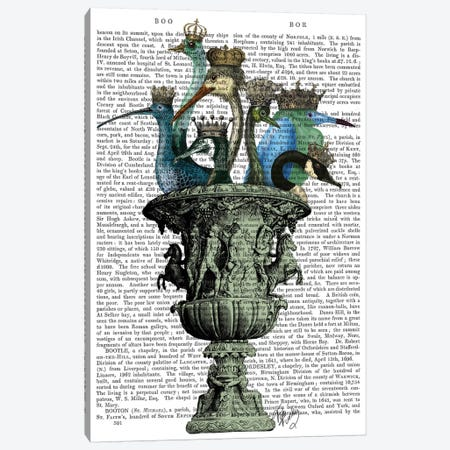 Bird Bath Canvas Print #FNK148} by Fab Funky Art Print