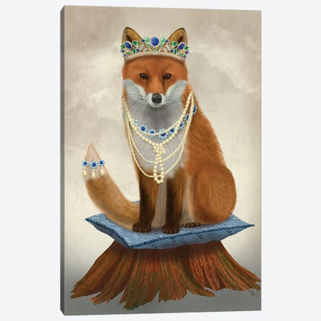 Fox with Tiara, Full I Canvas Print #FNK1490} by Fab Funky Canvas Wall Art