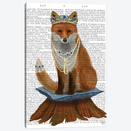 Fox with Tiara, Full II 3-Piece Canvas #FNK1491} by Fab Funky Canvas Art