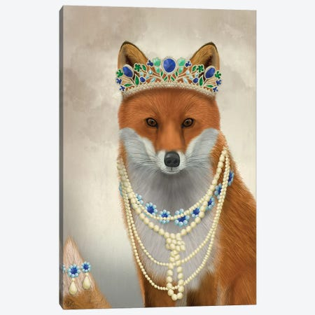 Fox with Tiara, Portrait I Canvas Print #FNK1492} by Fab Funky Canvas Wall Art