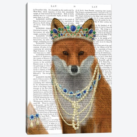 Fox with Tiara, Portrait II Canvas Print #FNK1493} by Fab Funky Canvas Artwork