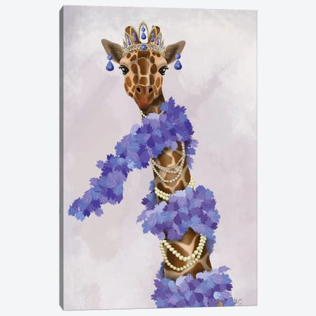Giraffe with Purple Boa I Canvas Print #FNK1497} by Fab Funky Canvas Print