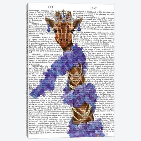 Giraffe with Purple Boa II Canvas Print #FNK1498} by Fab Funky Canvas Wall Art