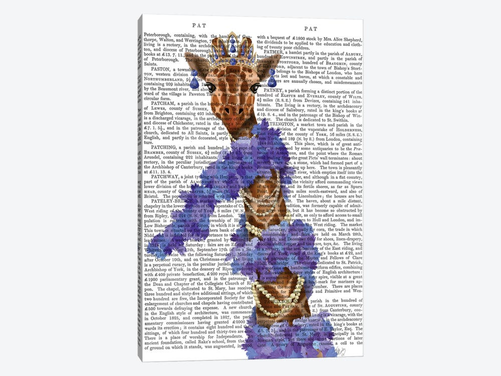 Giraffe with Purple Boa II by Fab Funky 1-piece Canvas Art Print