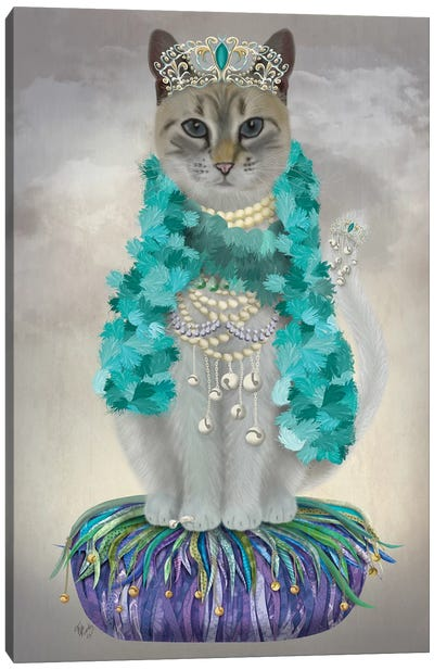 Grey Cat With Bells, Full Canvas Art Print