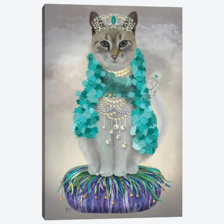 Grey Cat With Bells, Full Canvas Print #FNK1499} by Fab Funky Canvas Art