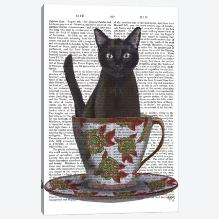 Black Cat In A Teacup I Canvas Print #FNK149} by Fab Funky Canvas Art Print