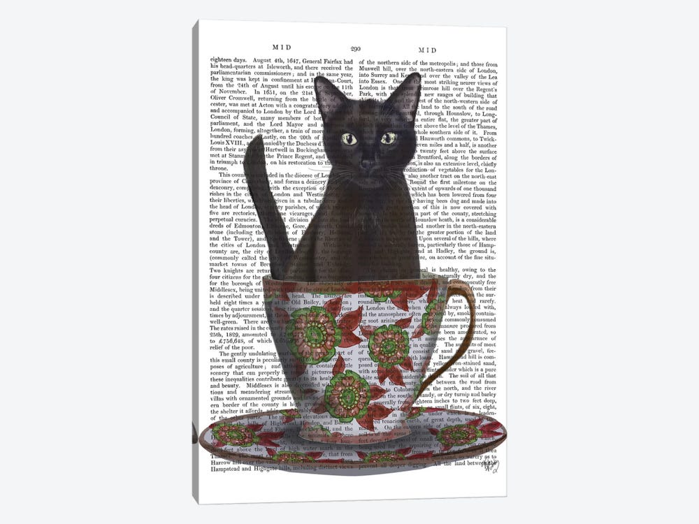 Black Cat In A Teacup I by Fab Funky 1-piece Canvas Art