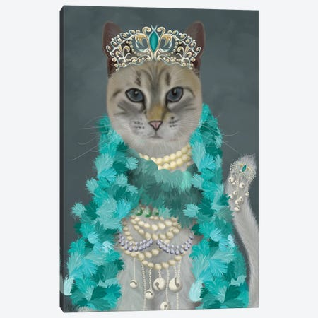 Grey Cat With Bells, Portrait Canvas Print #FNK1500} by Fab Funky Canvas Artwork