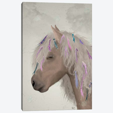 Horse Beige with Ribbons I Canvas Print #FNK1501} by Fab Funky Canvas Wall Art