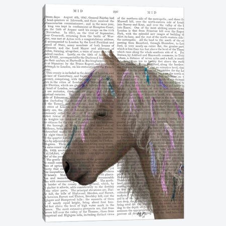 Horse Beige with Ribbons II Canvas Print #FNK1502} by Fab Funky Canvas Wall Art