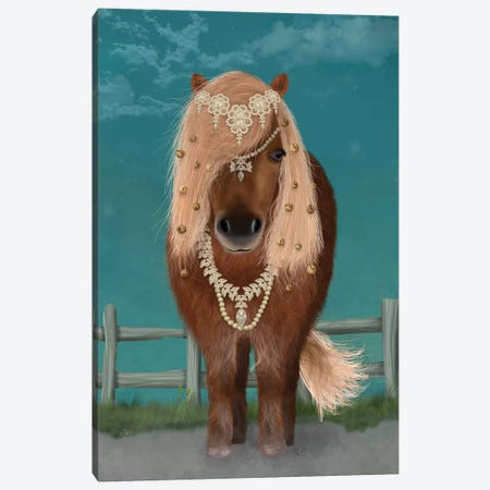 Horse Brown Pony with Bells, Full I Canvas Print #FNK1503} by Fab Funky Canvas Art