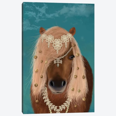 Horse Brown Pony with Bells, Portrait I Canvas Print #FNK1505} by Fab Funky Canvas Art Print