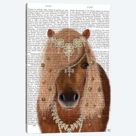 Horse Brown Pony with Bells, Portrait II Canvas Print #FNK1506} by Fab Funky Canvas Print