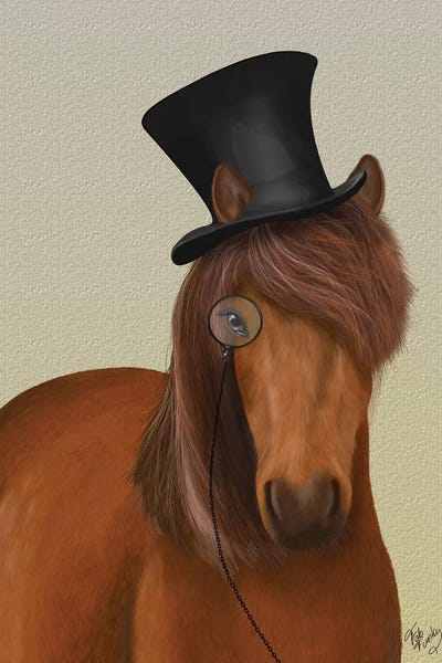 acf1afd8b Horse Top Hat and Monocle I Canvas Print by Fab Funky   iCanvas