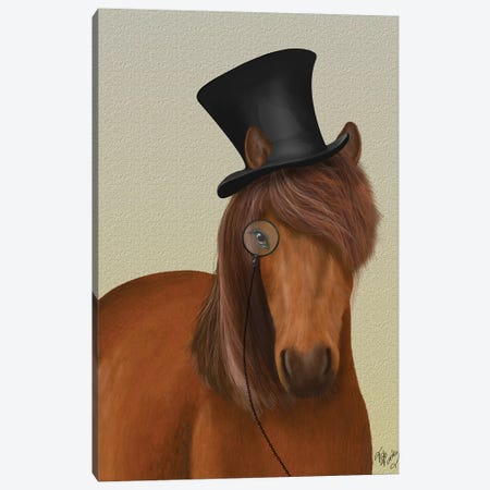 Horse Top Hat and Monocle I Canvas Print #FNK1515} by Fab Funky Canvas Wall Art