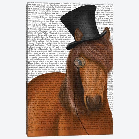 Horse Top Hat and Monocle II Canvas Print #FNK1516} by Fab Funky Canvas Artwork