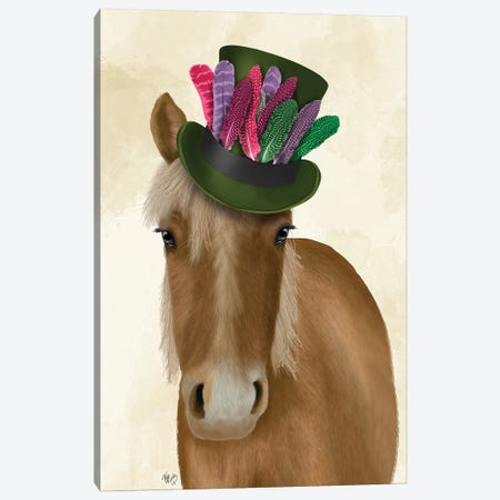 Horse with Feather Hat I Canvas Print #FNK1519} by Fab Funky Canvas Print