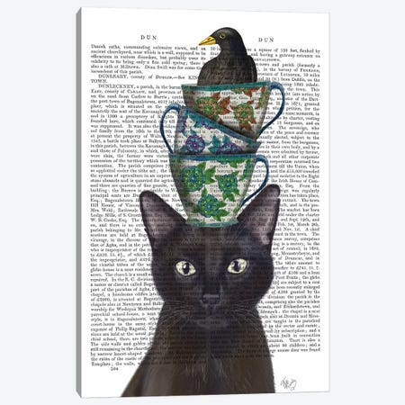 Black Cat With Teacups And Blackbird I Canvas Print #FNK151} by Fab Funky Canvas Art
