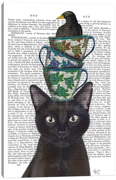 Black Cat With Teacups And Blackbird I Canvas Art Print