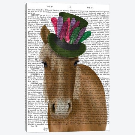 Horse with Feather Hat II Canvas Print #FNK1520} by Fab Funky Canvas Artwork