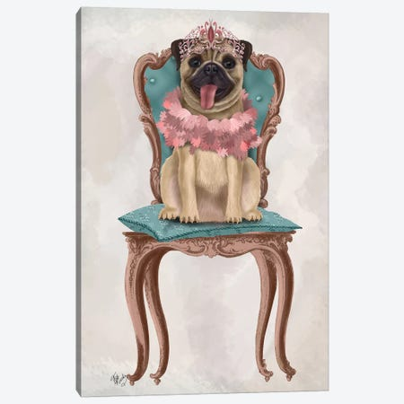 Pug Princess on Chair I Canvas Print #FNK1528} by Fab Funky Canvas Artwork