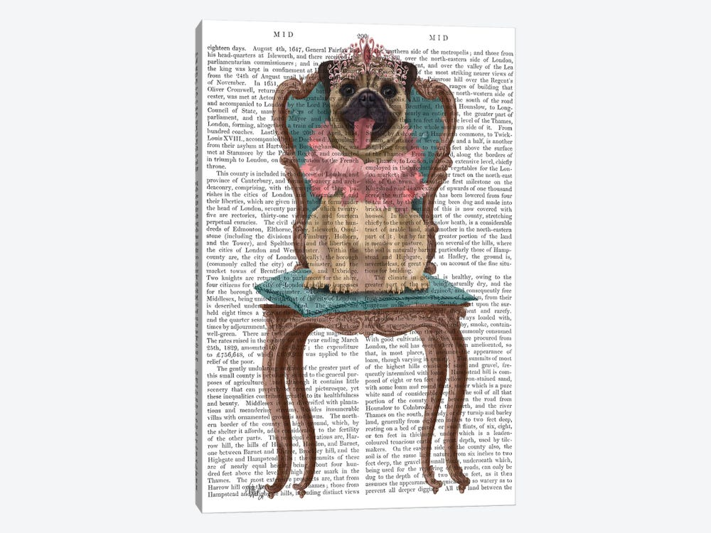 Pug Princess on Chair II by Fab Funky 1-piece Canvas Wall Art
