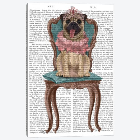 Pug Princess on Chair II Canvas Print #FNK1529} by Fab Funky Canvas Art