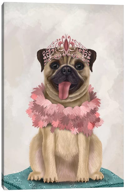 Pug Princess On Cushion I Canvas Art Print