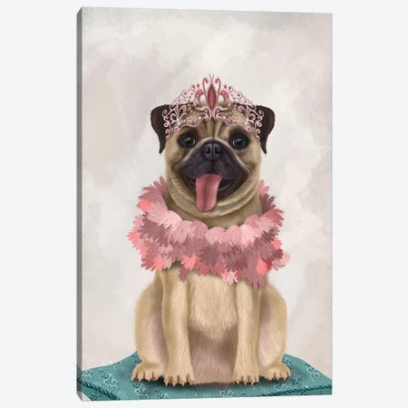 Pug Princess On Cushion I Canvas Print #FNK1530} by Fab Funky Canvas Art Print