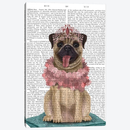 Pug Princess On Cushion II Canvas Print #FNK1531} by Fab Funky Canvas Print
