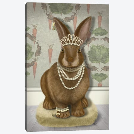 Rabbit and Pearls, Full I Canvas Print #FNK1533} by Fab Funky Art Print