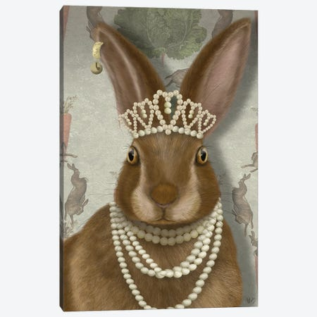 Rabbit and Pearls, Portrait I Canvas Print #FNK1535} by Fab Funky Canvas Artwork