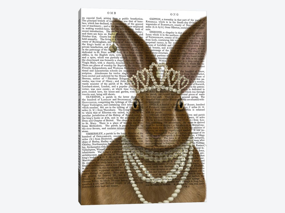 Rabbit and Pearls, Portrait II by Fab Funky 1-piece Canvas Art