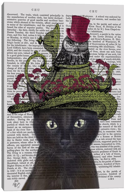 Black Cat With Teapot And Owl I Canvas Art Print