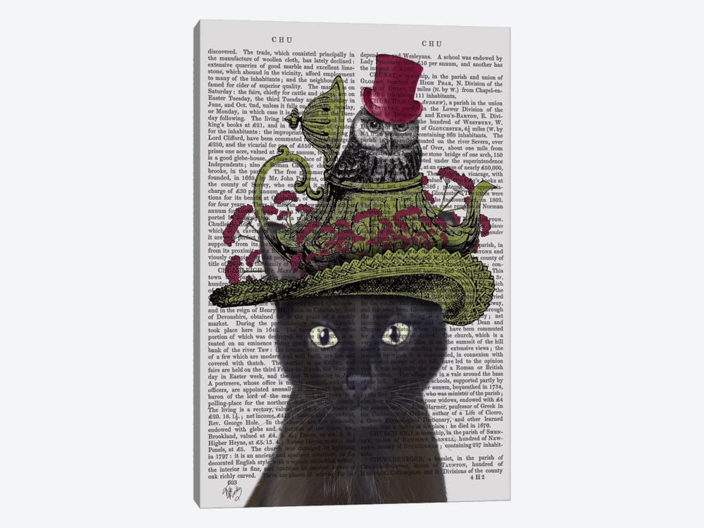 Black Cat With Teapot And Owl I by Fab Funky 1-piece Canvas Print