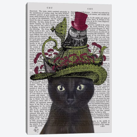 Black Cat With Teapot And Owl I Canvas Print #FNK153} by Fab Funky Canvas Wall Art