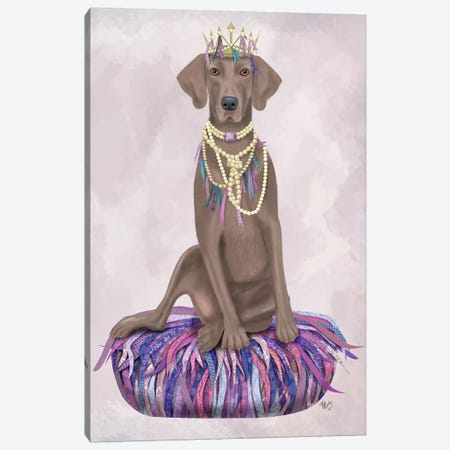 Weimaraner on Purple Cushion I Canvas Print #FNK1545} by Fab Funky Canvas Art Print