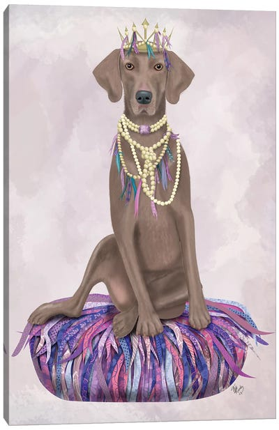 Weimaraner on Purple Cushion I Canvas Art Print