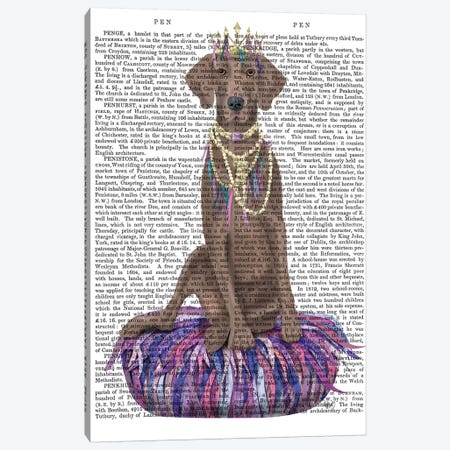 Weimaraner on Purple Cushion II Canvas Print #FNK1546} by Fab Funky Canvas Print