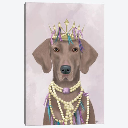 Weimaraner with Tiara I Canvas Print #FNK1547} by Fab Funky Canvas Print