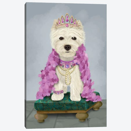 West Highland Terrier with Tiara I Canvas Print #FNK1550} by Fab Funky Art Print
